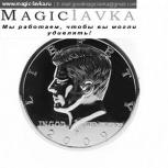 Jumbo Coin silver half dollar - Монета 1/2 доллара большая (7.4см, серебро)