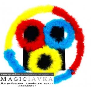 Фокус с изменяющими цвет перьевыми кольцами высокого класса